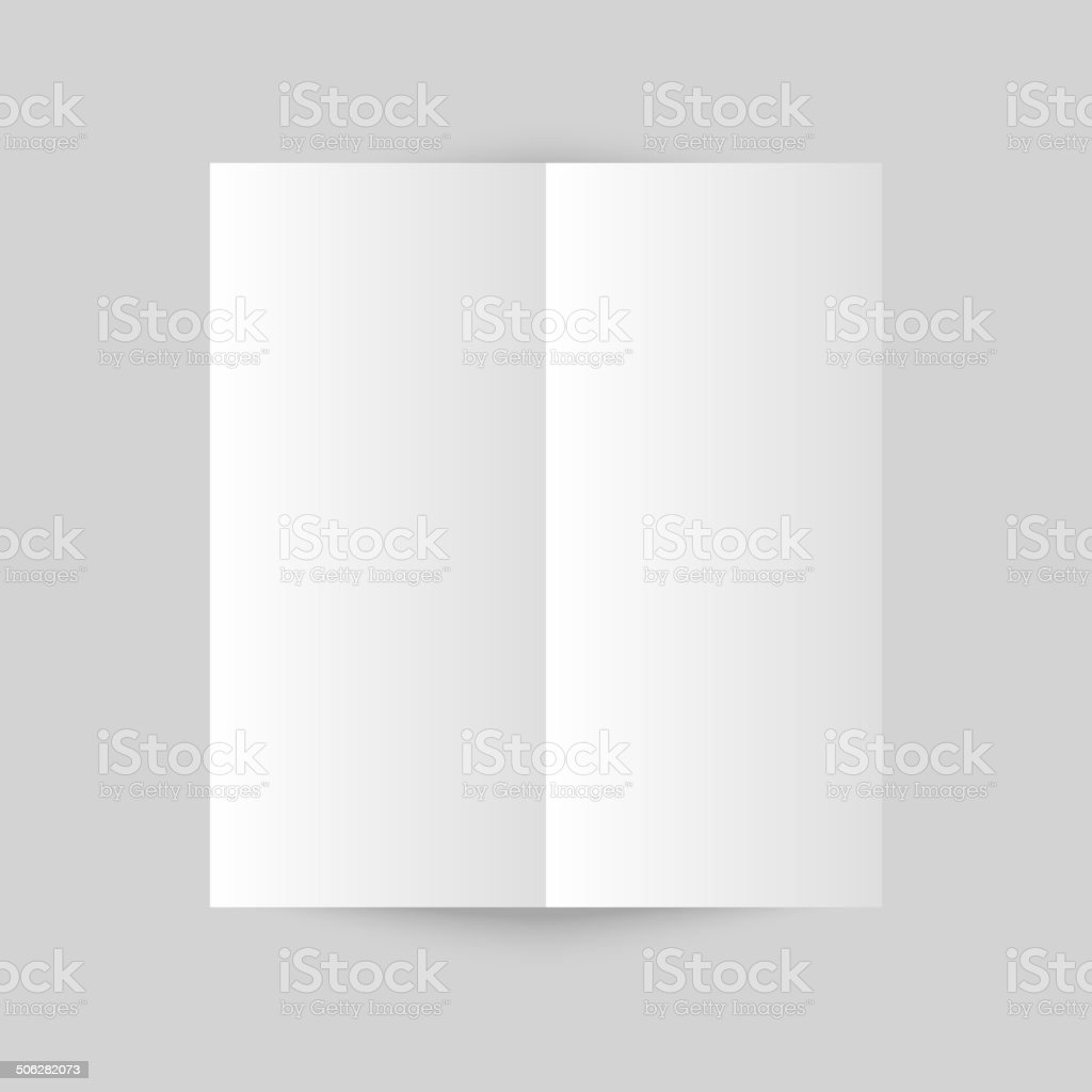 White stationery: blank trifold paper brochure on gray backgroun vector art illustration