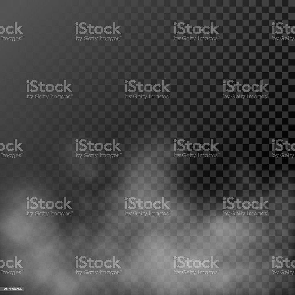 White steamy haze on transparent background vector art illustration