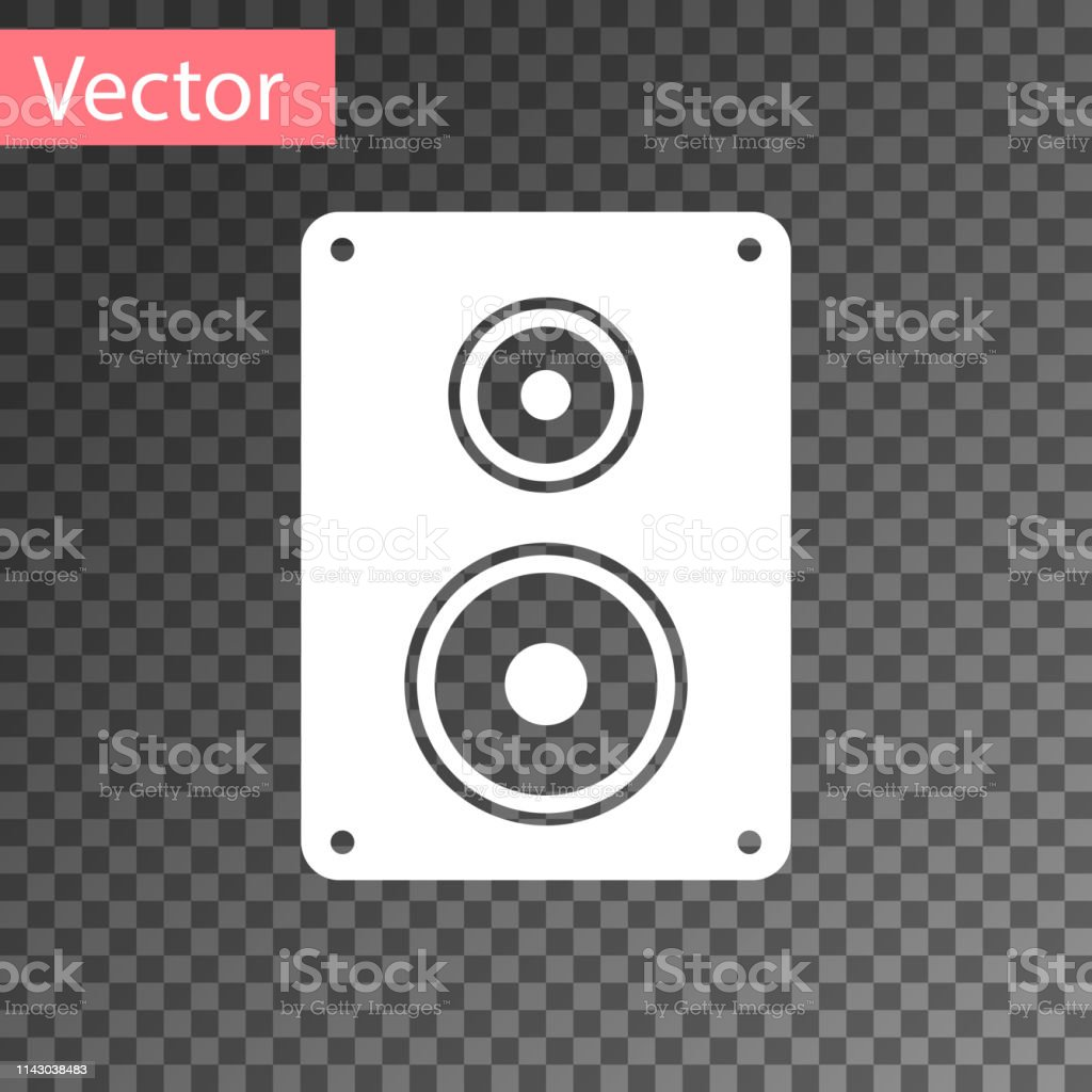 White Stereo Speaker Icon Isolated On Transparent Background