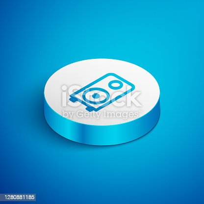 White Stereo speaker icon isolated with long shadow. Sound system speakers. Music icon. Musical column speaker bass equipment. Pink hexagon button. Vector.