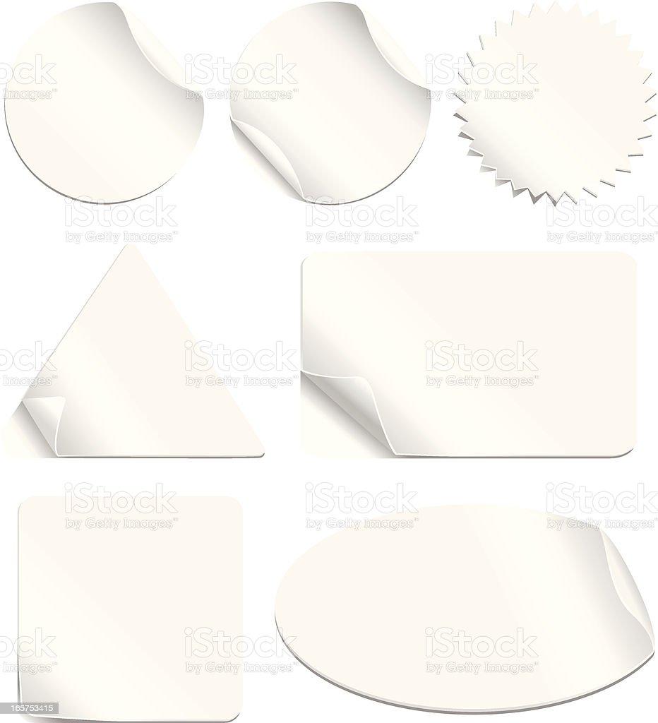 White Stickers Set vector art illustration
