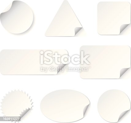 Set of blank realistic white stickers with curled edges in Vector. Used Global color.