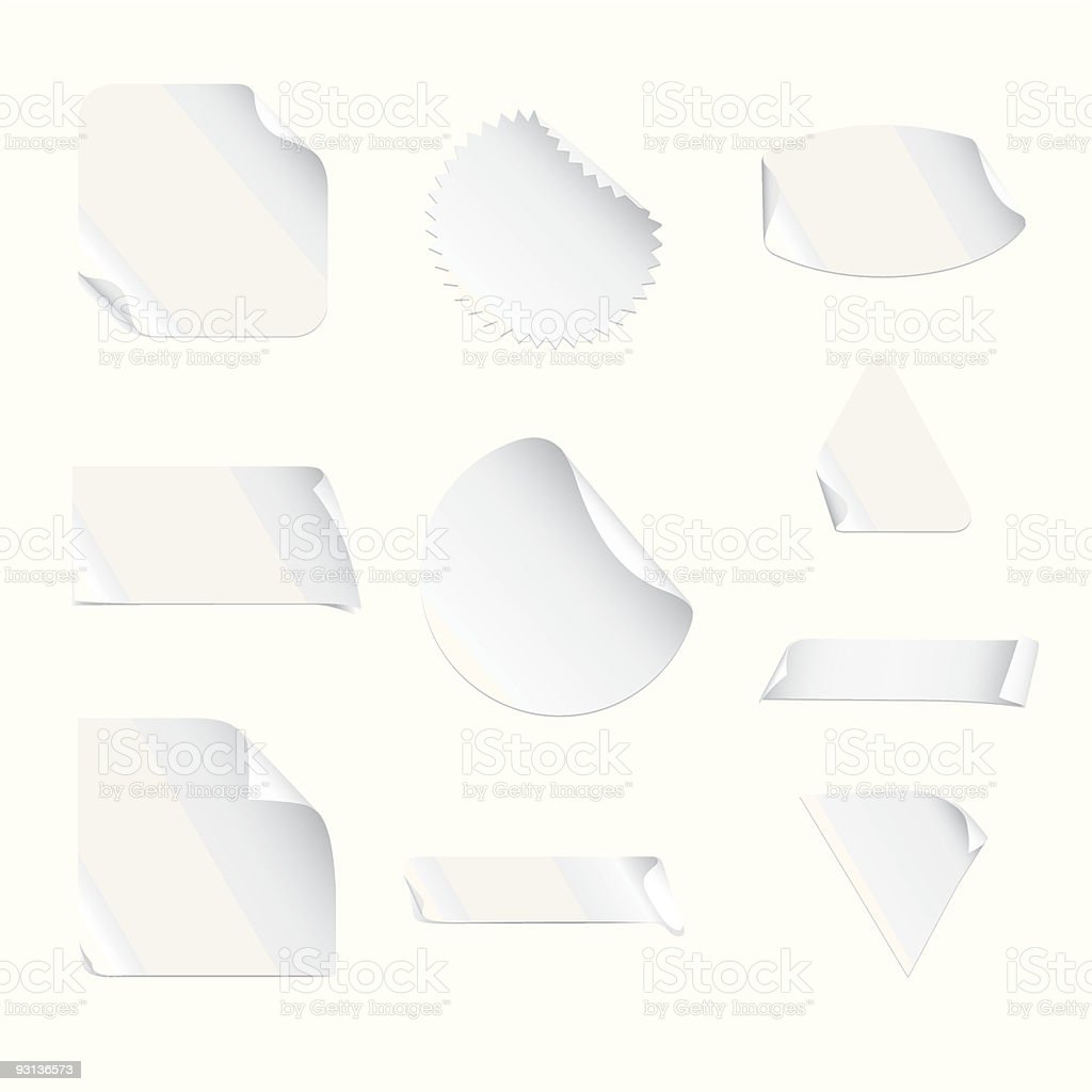 White Stickers vector art illustration