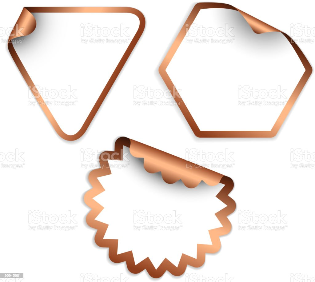 White stickers with copper borders royalty-free stock vector art