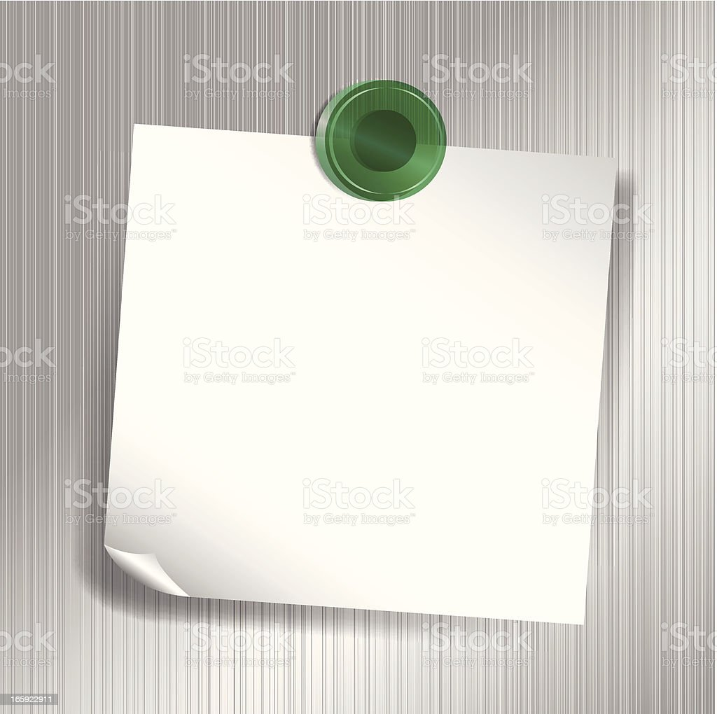 White sticky note attached to fridge with green magnet vector art illustration