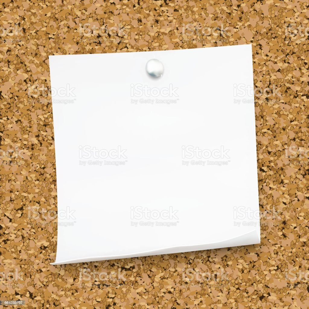 White Sticky Note Isolated On The Cork Board Template For Your ...