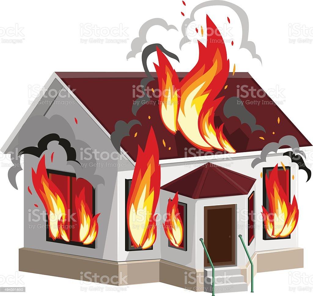 White stone house burns. Property insurance against fire. Home insurance vector art illustration