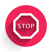White Stop sign icon isolated with long shadow. Traffic regulatory warning stop symbol. Red circle button. Vector Illustration