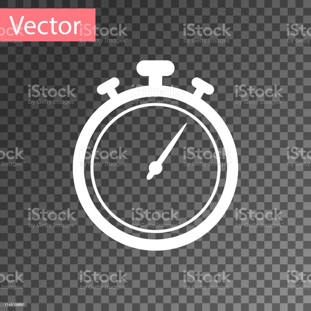 White Stopwatch Icon Isolated On Transparent Background Time