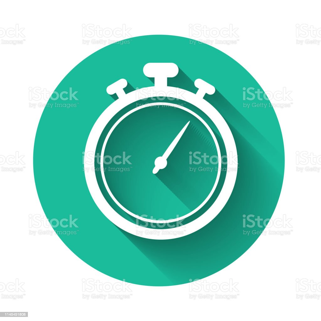 White Stopwatch Icon Isolated With Long Shadow Time Timer