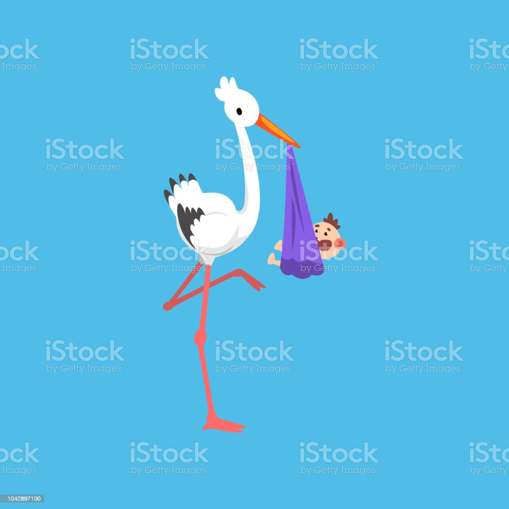 white stork delivering bundle with newborn baby template for baby