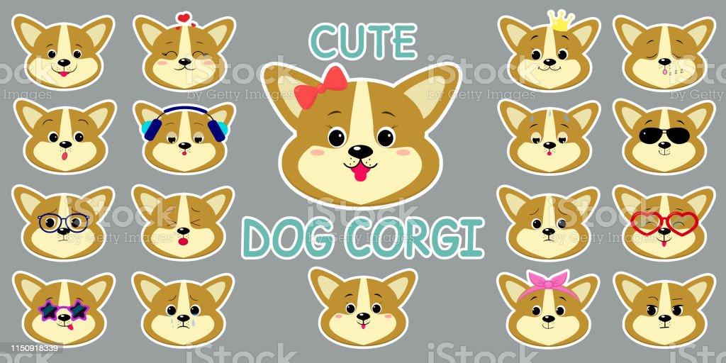 White stroke sticker, cute corgi puppy dog head, mega set of...