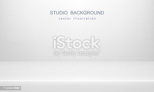 istock White studio background. Empty space, mock up. Vector 3D backdrop 1144441662