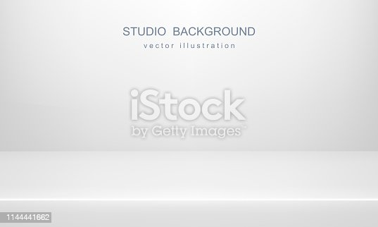 White studio background for advertising design. Empty space, mock up. Vector 3D backdrop