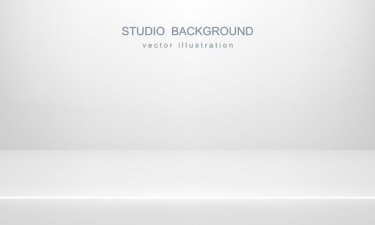 White studio background. Empty space, mock up. Vector 3D backdrop clipart