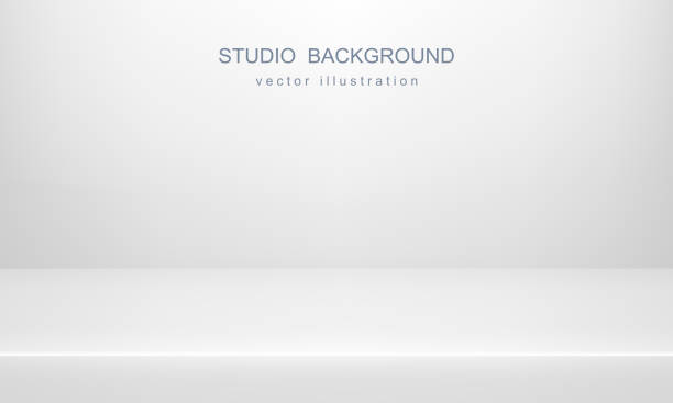 ilustrações de stock, clip art, desenhos animados e ícones de white studio background. empty space, mock up. vector 3d backdrop - cenário