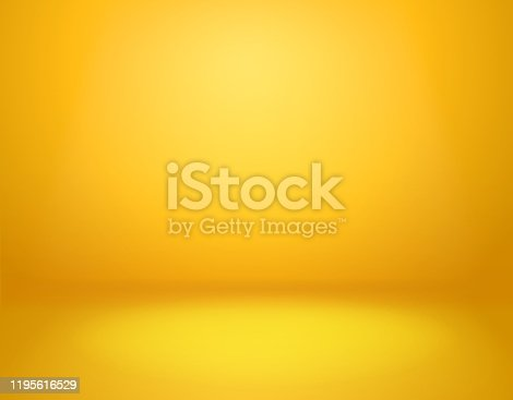 Yellow studio background. Empty vivid yellow studio room, modern workshop interior in perspective. Website wallpaper vector golden gradient spotlight mockup
