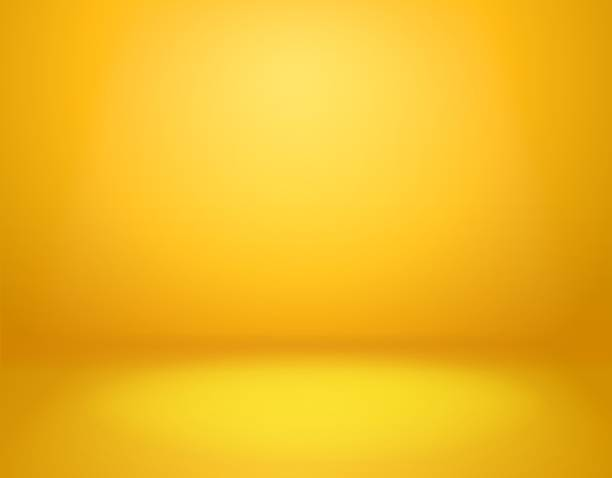 White studio background. Vector template Yellow studio background. Empty vivid yellow studio room, modern workshop interior in perspective. Website wallpaper vector golden gradient spotlight mockup studio stock illustrations