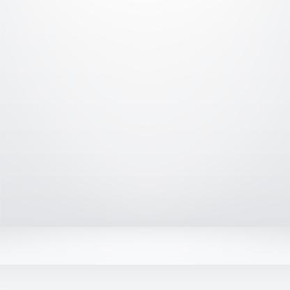 Sala de estudio blanca 3D. Estudio gris vacío mackup. Estudio de fondo claro. Caja de luz de habitación tridimensional - vector de stock.