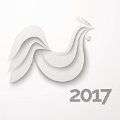 White stylized paper rooster with shadow
