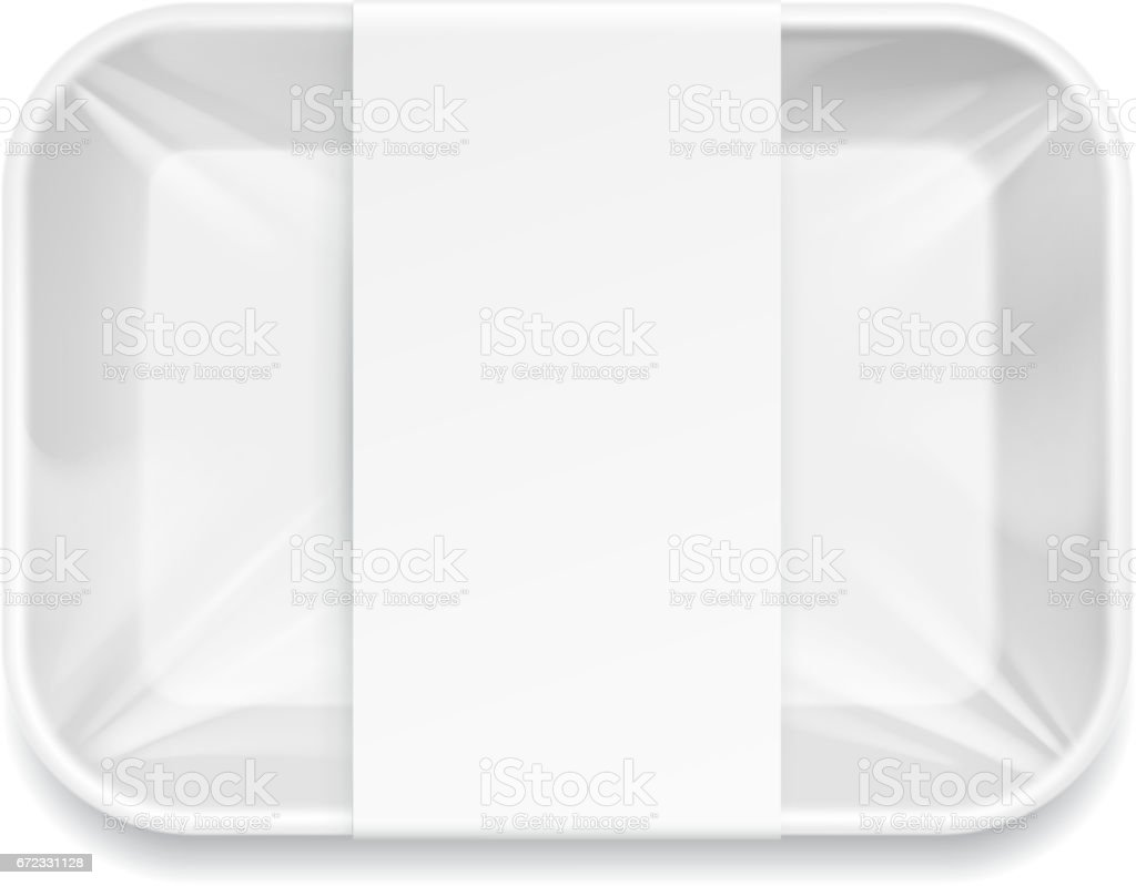 White Styrofoam Food Tray pack. vector art illustration