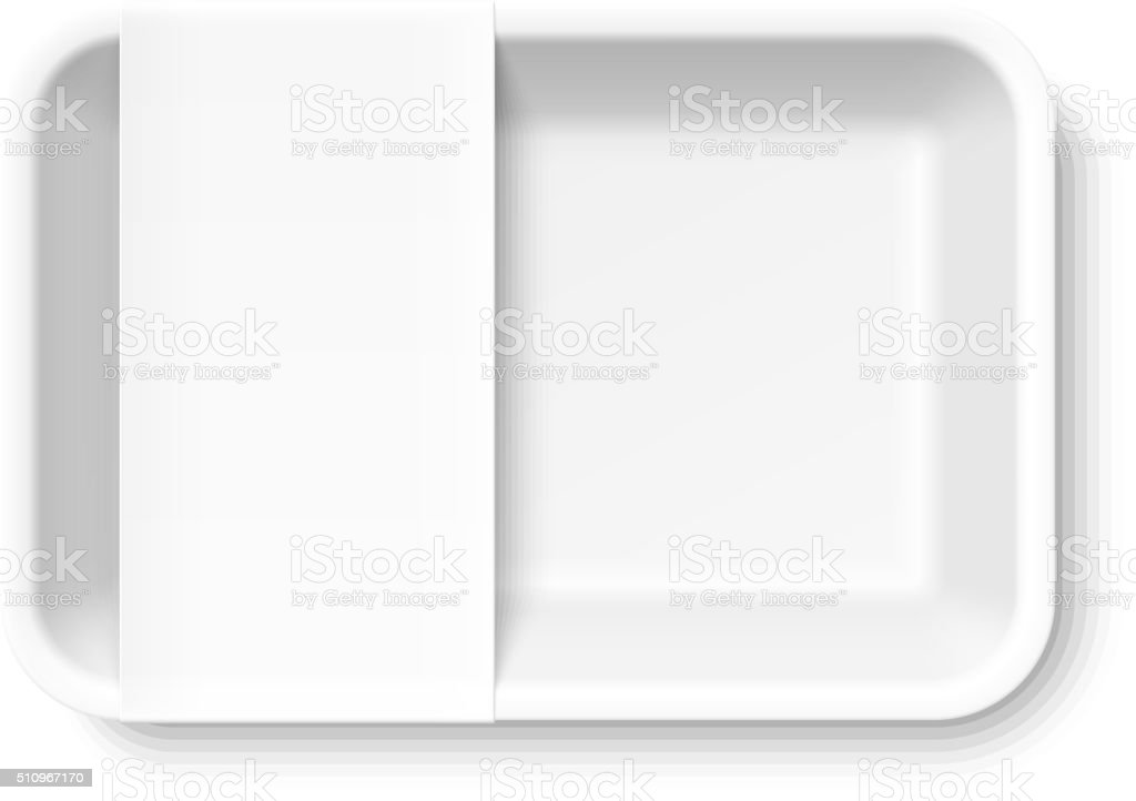 White styrofoam food tray with blank label vector art illustration
