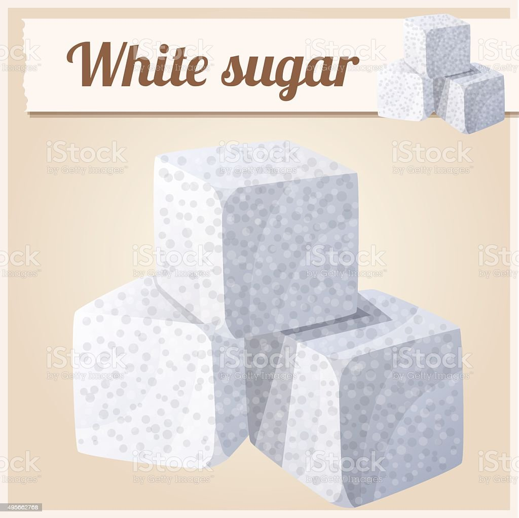 White sugar. Detailed Vector Icon vector art illustration