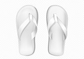 White summer slippers for beach or pool isolated on transparent background. Vector realistic mockup of blank flip flops, plastic sandals with thong, rubber shoes for household or sea vacation