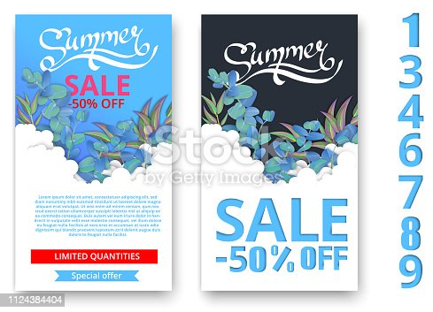 White and blue summer sale cards with beautiful eucalyptus blossom. Promotion poster, label or booklet with figures. Multivariate template. Vector paper illustration.