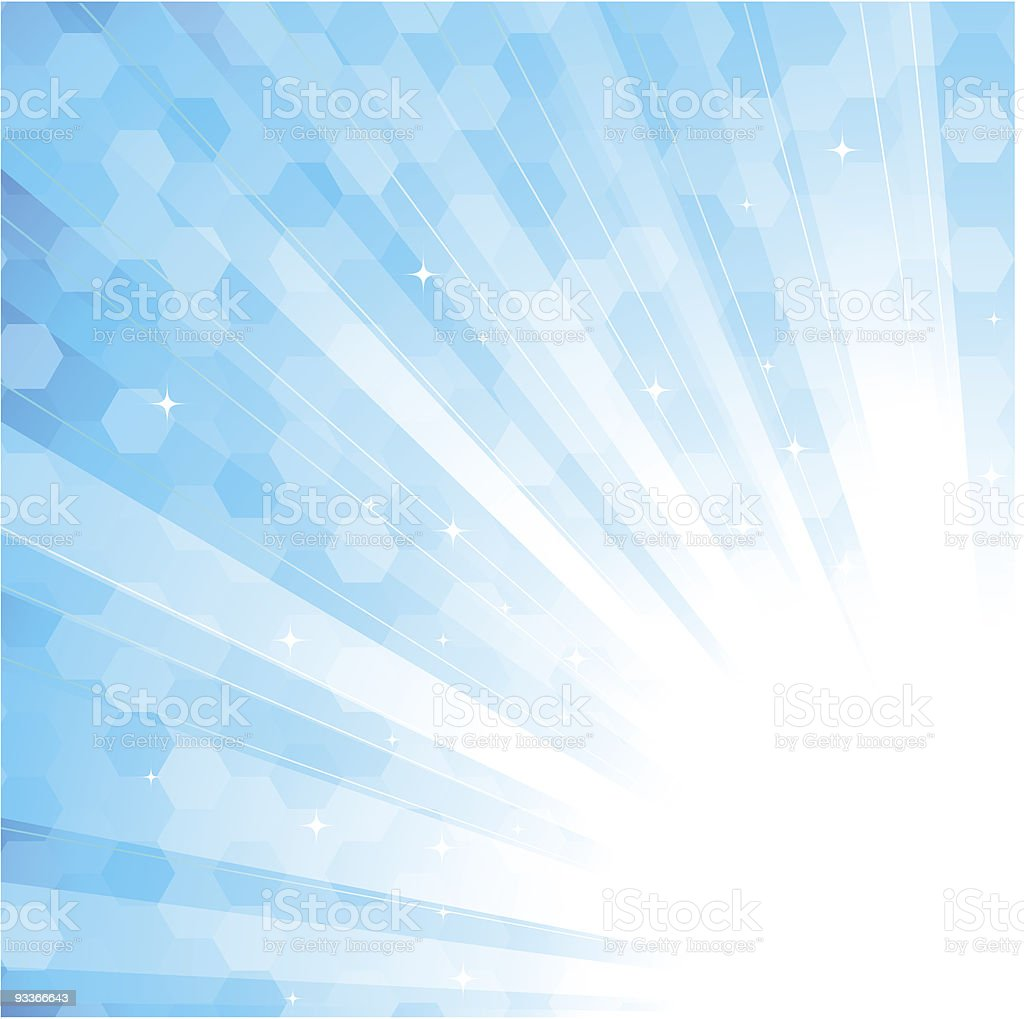 White sunbeams on a blue background royalty-free stock vector art