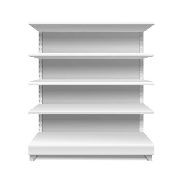 White supermarket shelves. Retail rack shop shelving blank shelves empty showcase store bookcase isolated 3d mockup White supermarket shelves. Retail rack shop shelving blank shelves empty showcase store bookcase isolated vector 3d mockup no people stock illustrations