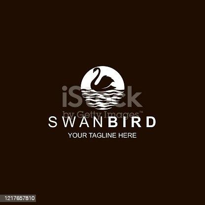 white swan icon isolated on black background