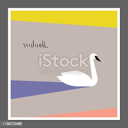 White swan on pastel color block background. Scandinavian style poster