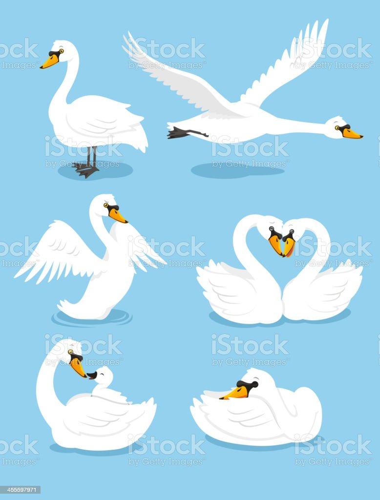 White Swan Wing Water Animal Bird Elegance Grace Set vector art illustration