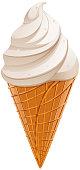 White sweet vanilla ice cream waffle cone isolated. Vector cartoon illustration