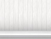 White table and wooden planks background