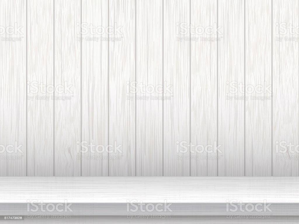 White table and wooden planks background vector art illustration