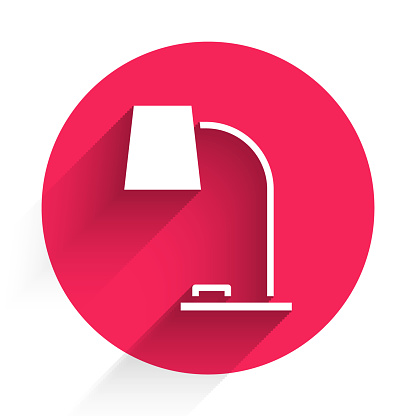 White Table lamp icon isolated with long shadow. Table office lamp. Red circle button. Vector Illustration