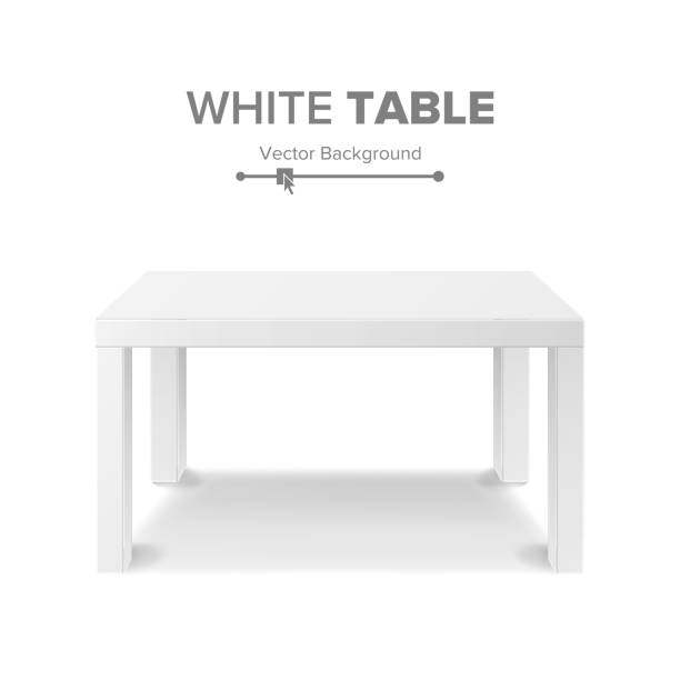 White Table Vector. 3D Stand Template For Object Presentation. Realistic Vector Illustration vector art illustration