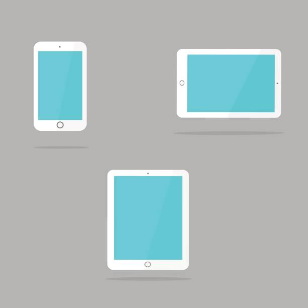 white tablet and smartphone in the style of the ipad. - ipad stock illustrations