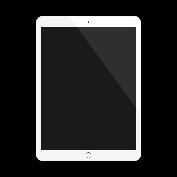 white tablet in ipad style with blank touch screen on black background. vector illustration. - ipad stock illustrations