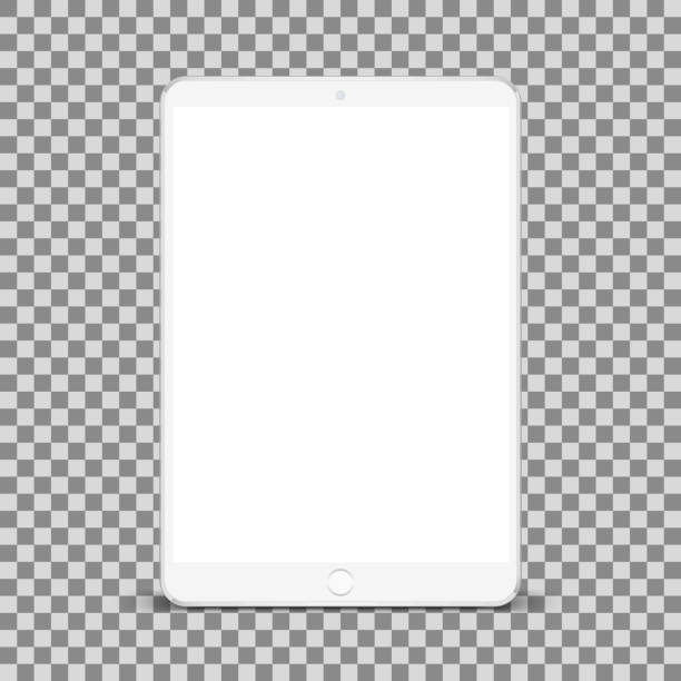 ilustrações de stock, clip art, desenhos animados e ícones de white tablet with white screen new version in trendy thin frame - for stock - tablet