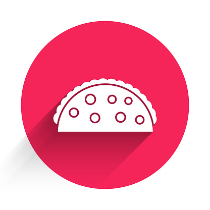White Taco with tortilla icon isolated with long shadow. Traditional mexican fast food menu. Red circle button. Vector Illustration