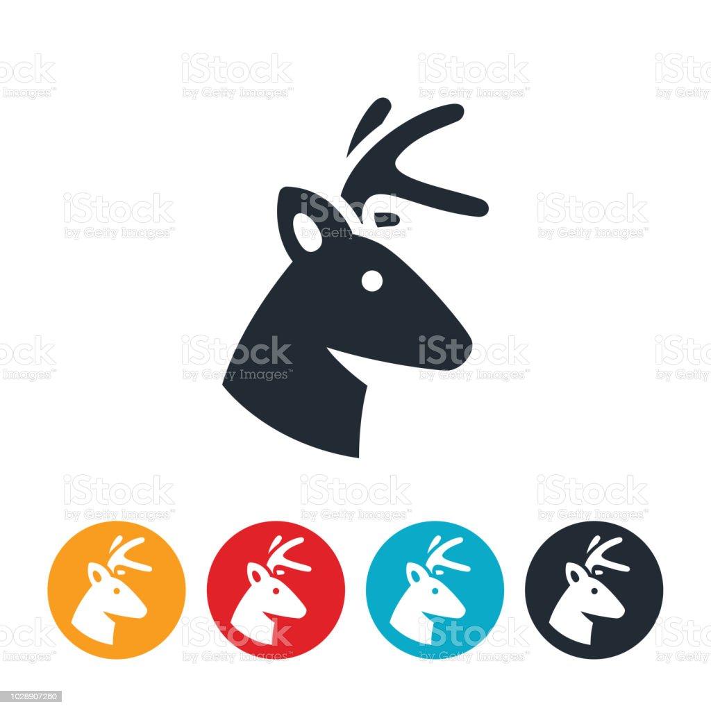 White Tail Buck Deer Icon vector art illustration