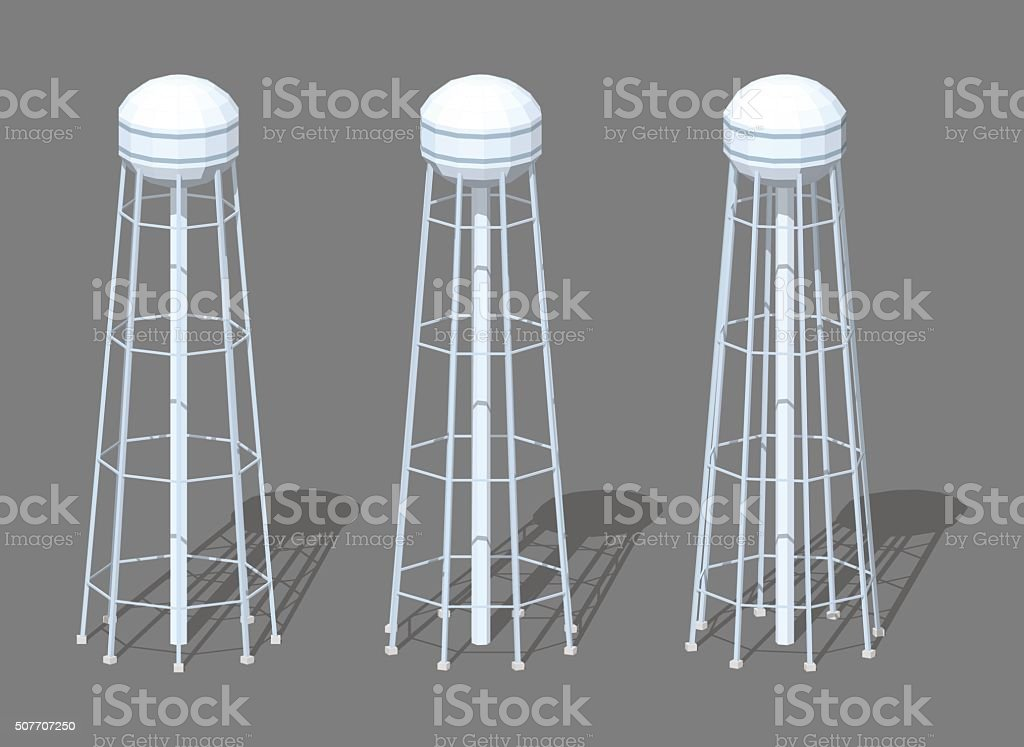 White tall water tower vector art illustration