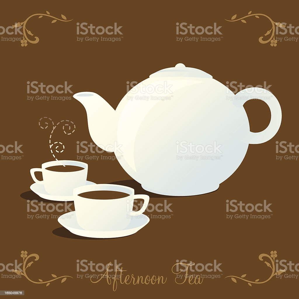 White Teapot and Two Cups of Tea royalty-free stock vector art