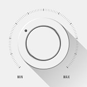 White technology music button, volume knob with flat designed shadow and range scale for design concepts, badges, web, prints, user interfaces, UI, applications, apps. Vector illustration.