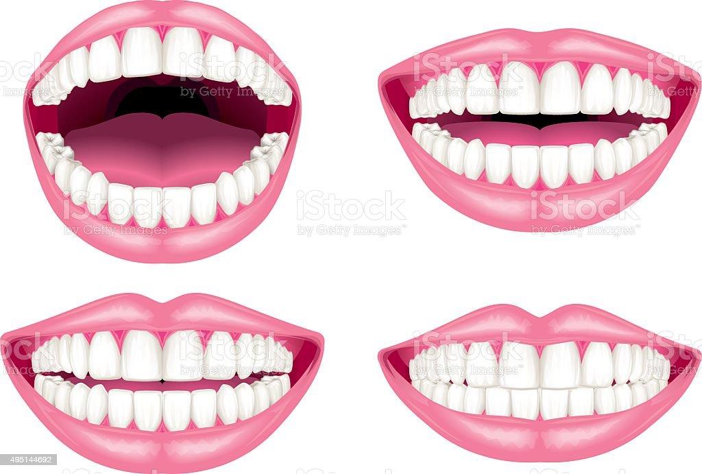 White teeth and lips vector art illustration