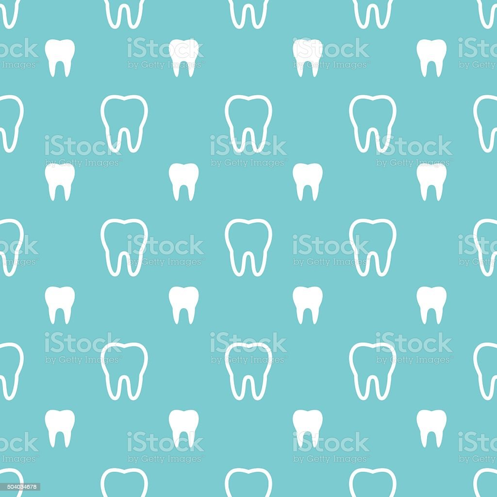 White teeth on turquoise background. vector art illustration