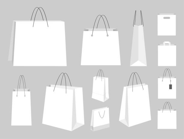 white template shopping bags. - kupować stock illustrations